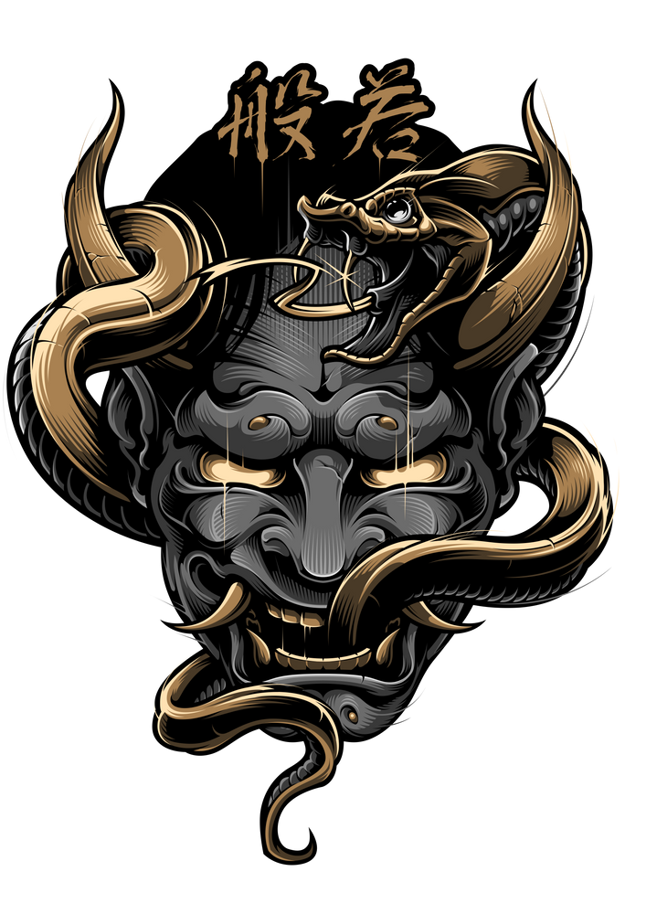 Hannya Sticker By Blackout Brother White Background 3 X3 Japanese Mask Tattoo Japanese Tattoo Art Samurai Tattoo Design