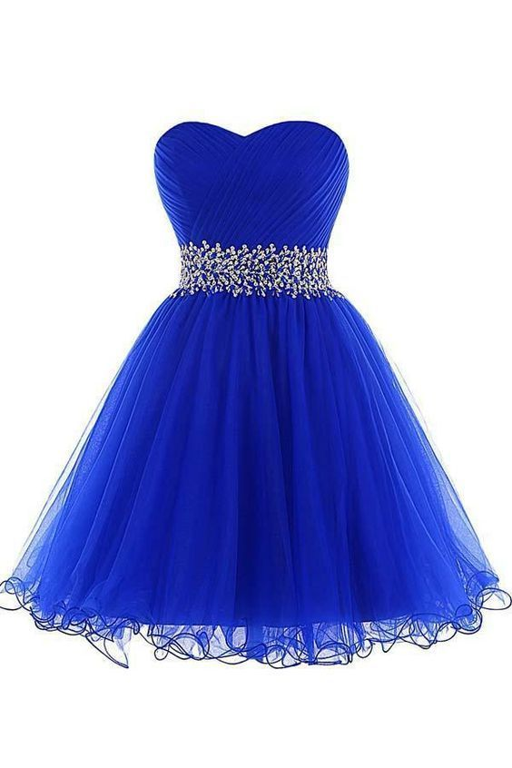 A-Line Homecoming Dresses A-line Sweetheart Short Tulle Lace-up Royal Blue Homecoming Dress -   15 dress Cortos azul ideas