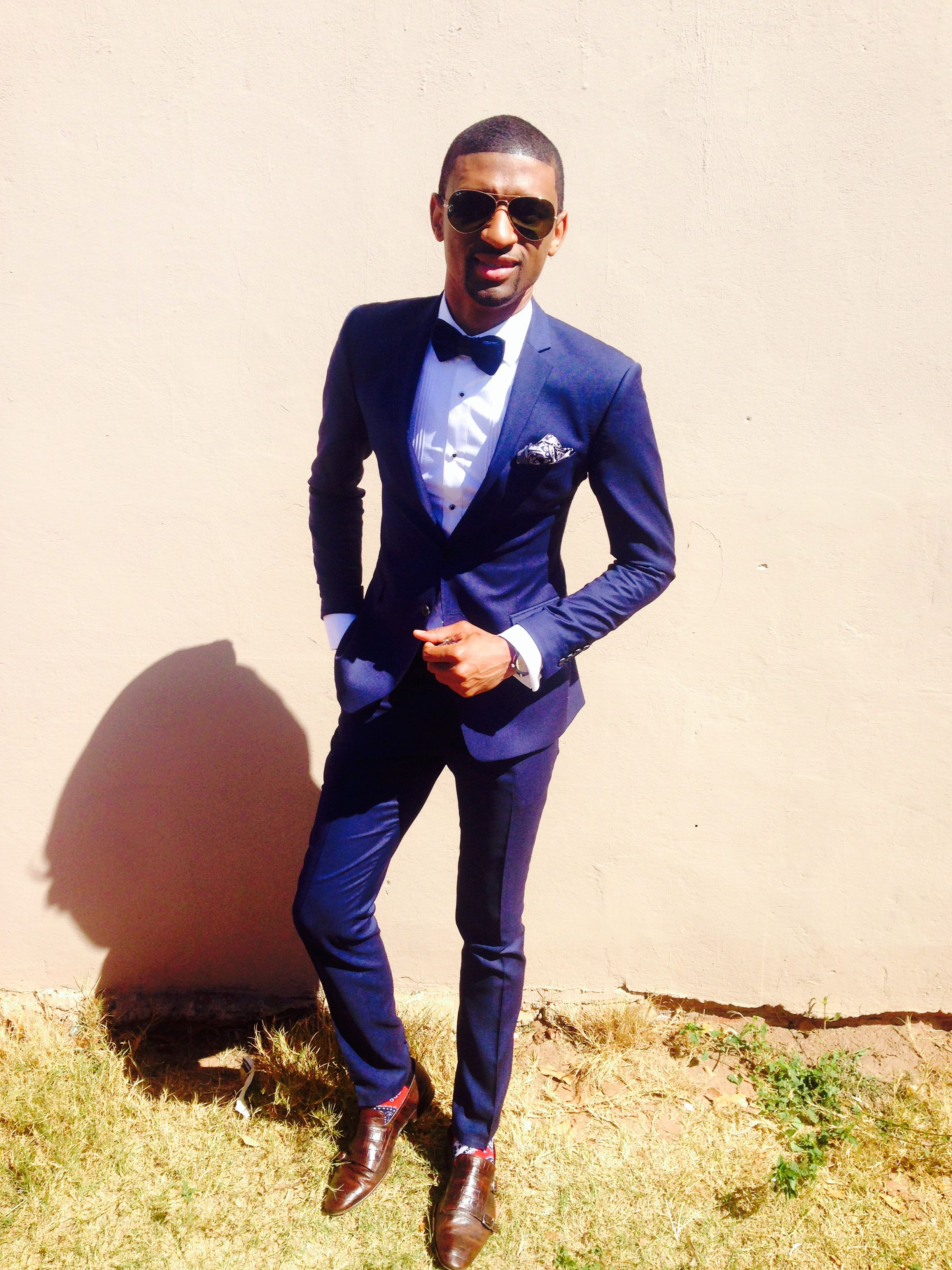 I am rocking a blue on white tailored suit with brown shoes and a ...