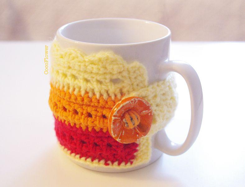 Becher Tassen Gemütliche Kaffeetasse Gelb Orange Handgefertigte