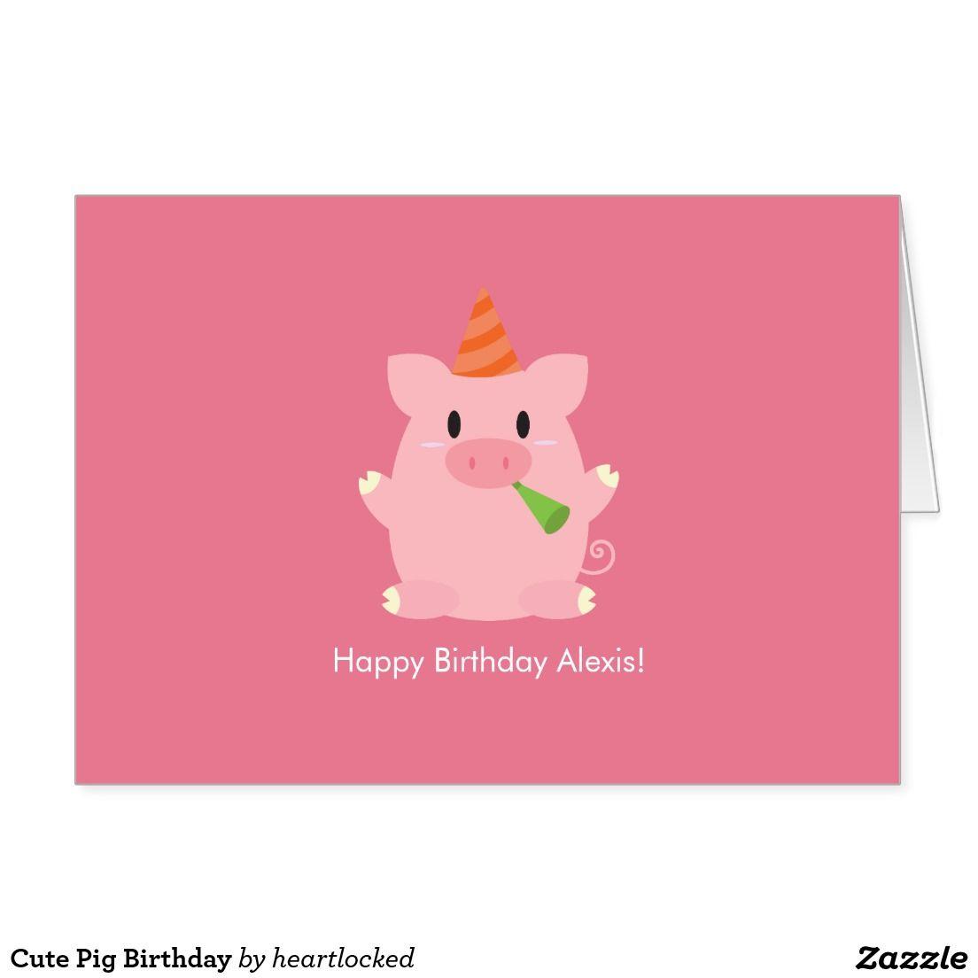 Cute Pig Birthday Thank You Card Zazzle Com Pig Birthday Cute Pigs Birthday Thank You Cards