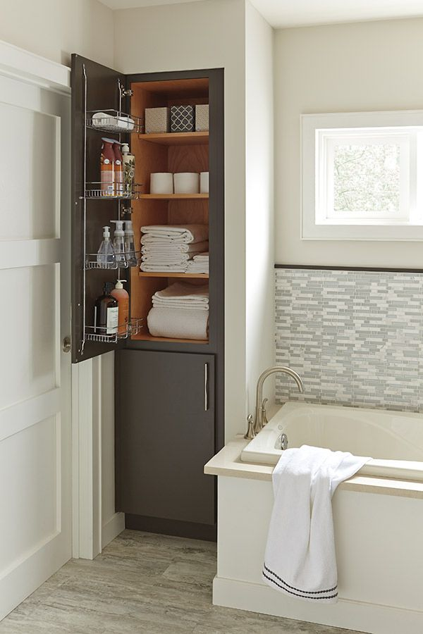 This Bathroom Essential Features A Deep Chrome Door Rack That Makes Items More Accessible The Linen Closet Also 4 Adjule Shelves Are