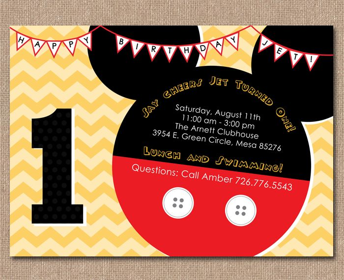 Kimberly j design mickey mouse birthday invitation invite kimberly j design mickey mouse birthday invitation filmwisefo Images