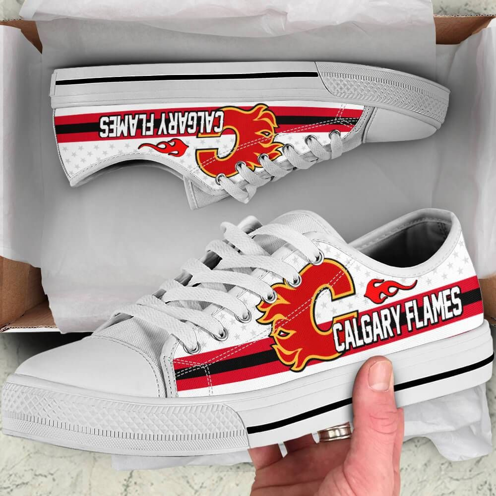 Calgary Flames Legend Since 1972 NHL Hockey Teams White Low Top Shoes - TeexTee Store     Shipping