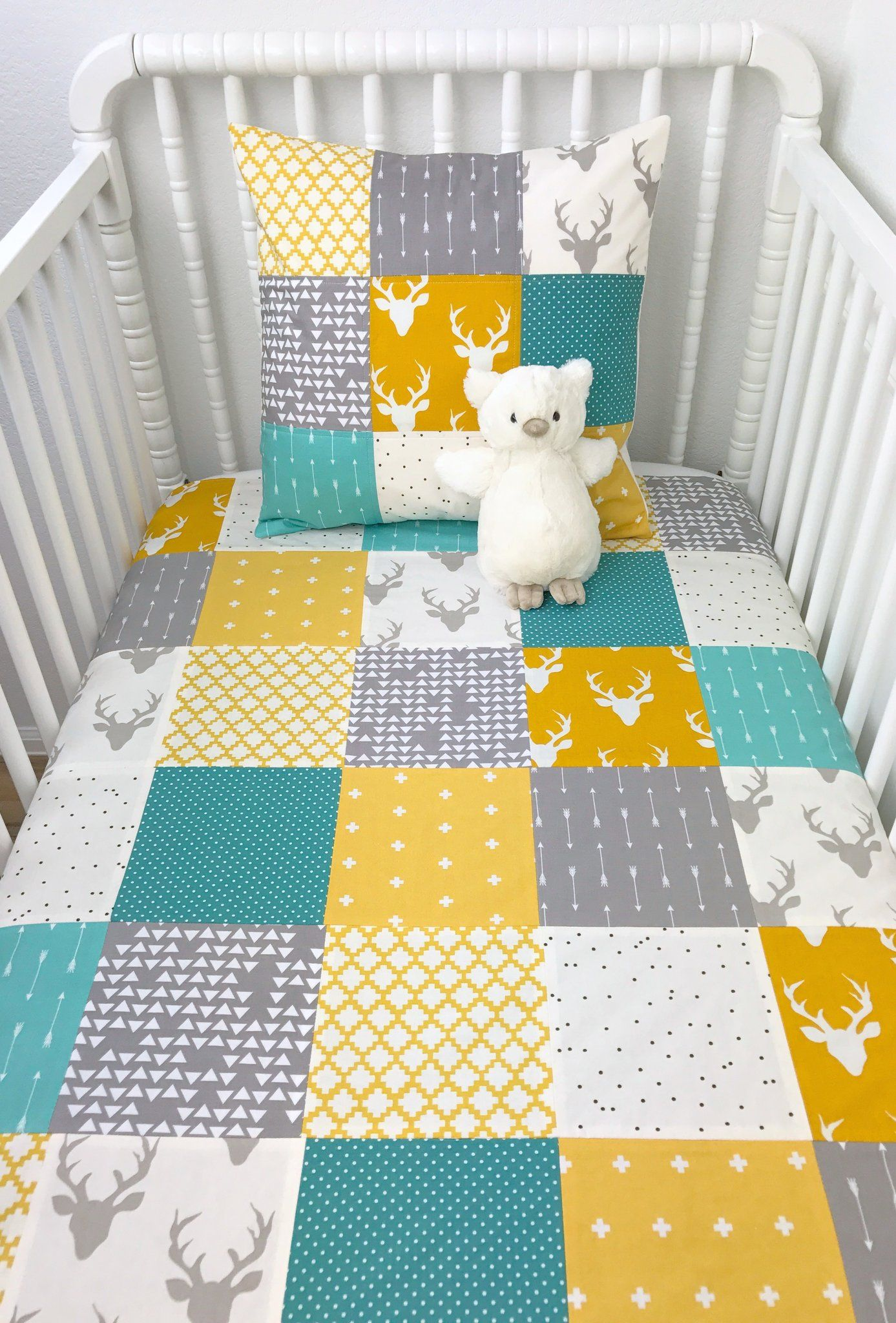 Teal Gray And Mustard Deer Baby Blanket Woodland Crib Bedding Baby Shower Gift Yellow Crib Yellow Kids Rooms Blanket Teal