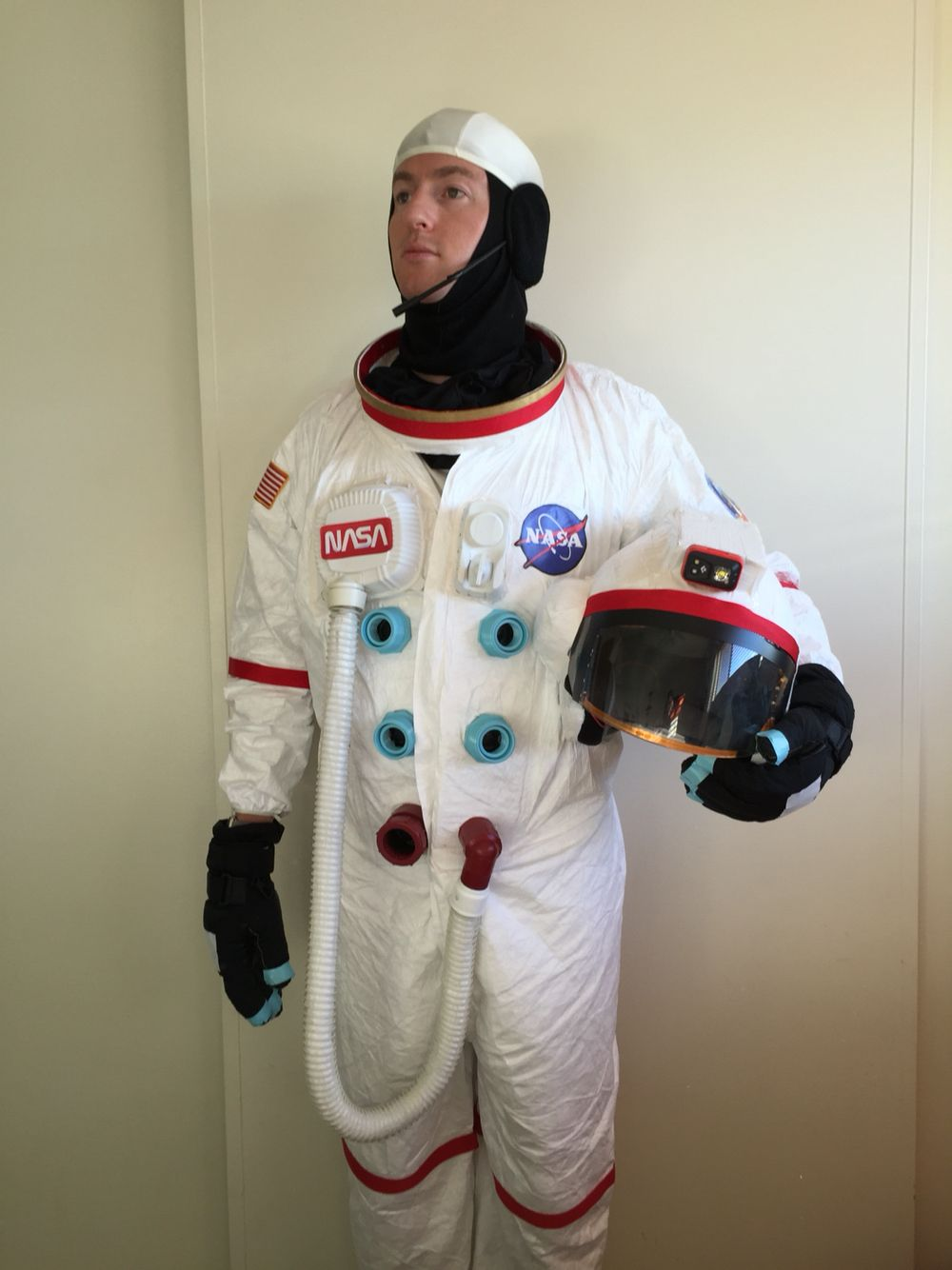 245711d0b3a1 DIY Home Depot Astronaut... Super easy with a painter s suit and white duct  tape