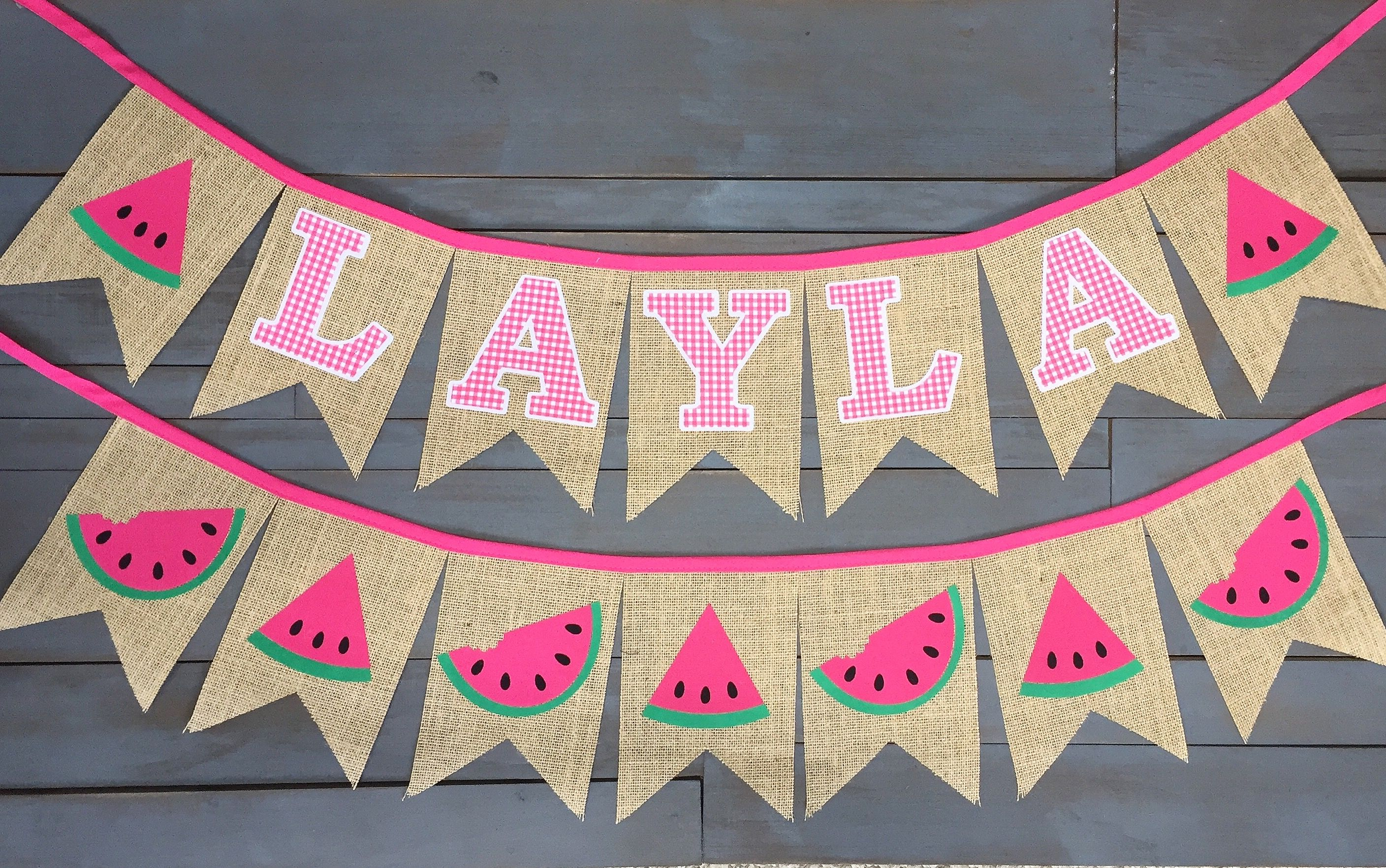 Pink gingham and watermelons first birthday party decorations banner