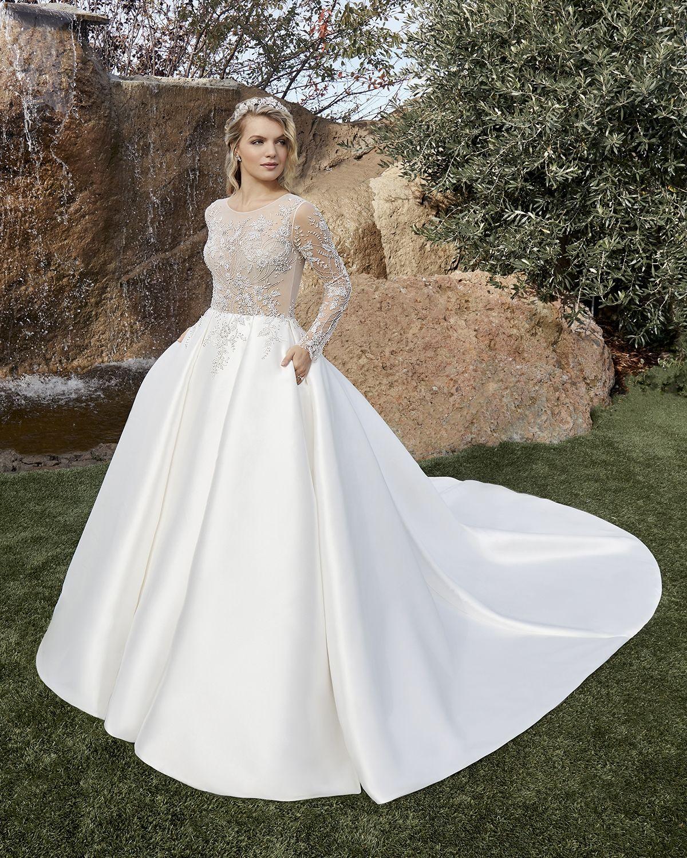 Style 2436 1 Talia Dramatic Ballgown Wedding Dress With Blue Beading Wedding By Casablanca Bridal In 2020 Strapless Lace Wedding Dress Ball Gown Wedding Dress Casablanca Bridal