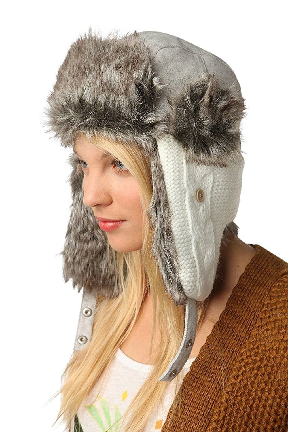 a9de5caf630 Wool Faux Fur Comfortable Warm Cute Winter Trapper Aviator Hat - Knitted  White Grey - CS1860UMTMI - Hats   Caps