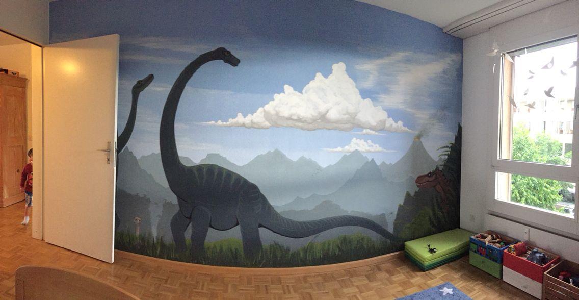 Dinosaurier Wand Kinderzimmer gemalt dino dinosaur kids