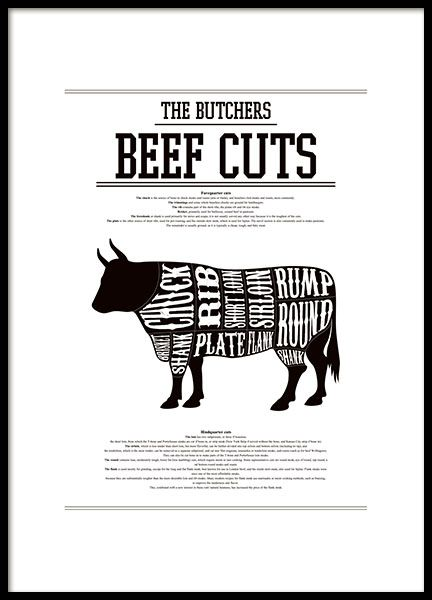 poster mit beef cuts butcher chart schwarz wei es poster plakat mit den verschiedenen. Black Bedroom Furniture Sets. Home Design Ideas