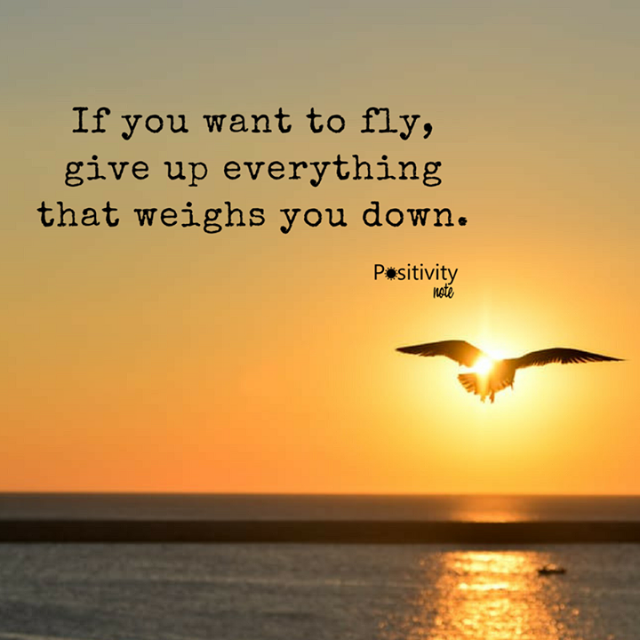 If You Want To Fly Give Up Everything That Weighs You Down Positivitynote Positivity Inspir Giving Up Quotes Relationship Fly Quotes Positive Energy Quotes