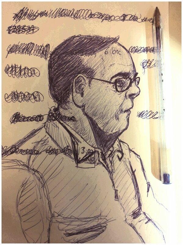 Uomo con doppio mento, disegno by Alberto Scarpulla 2016