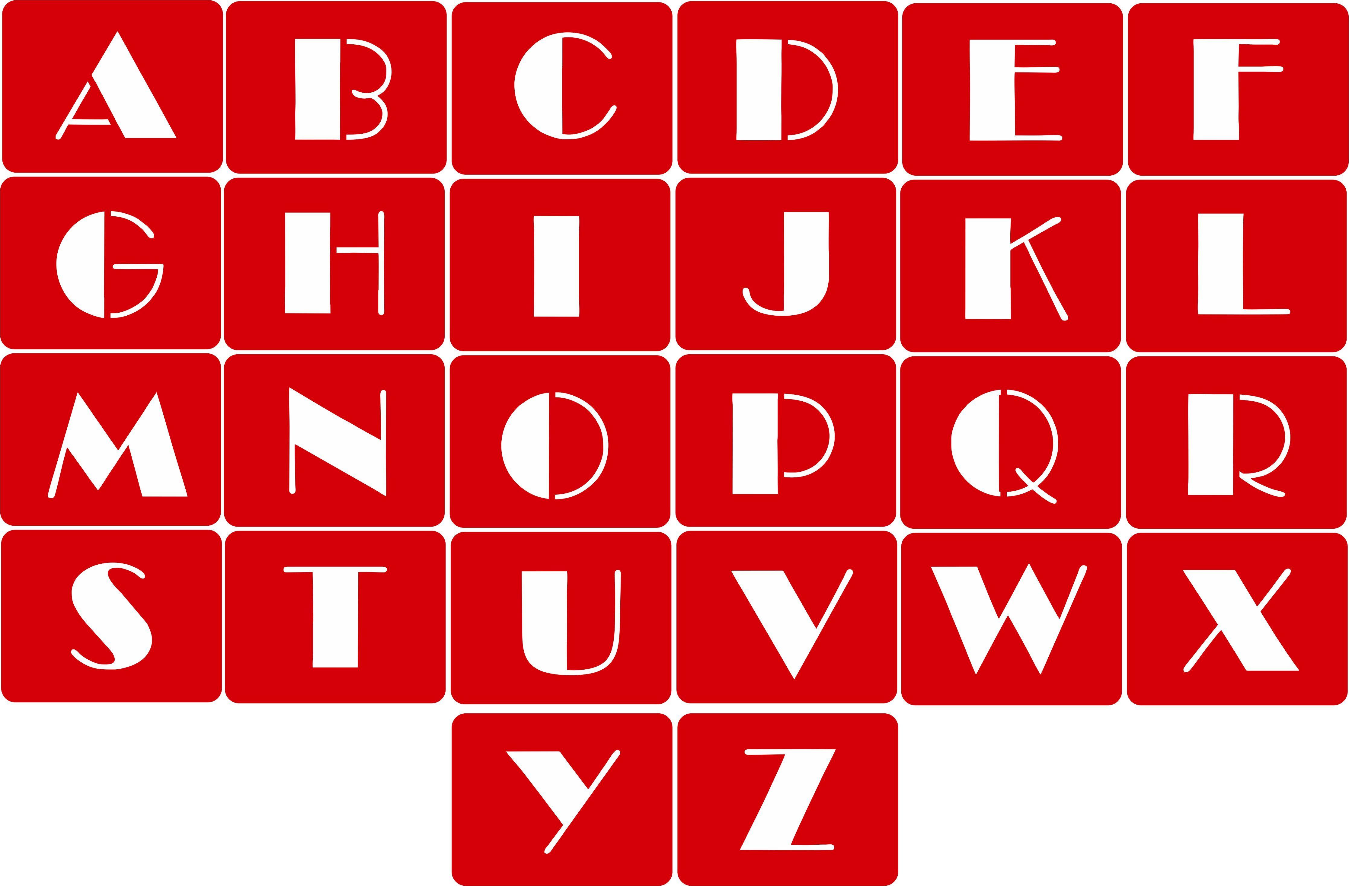 CODE A103. NAME Alphabet Stencil (Broadway Font). SIZE
