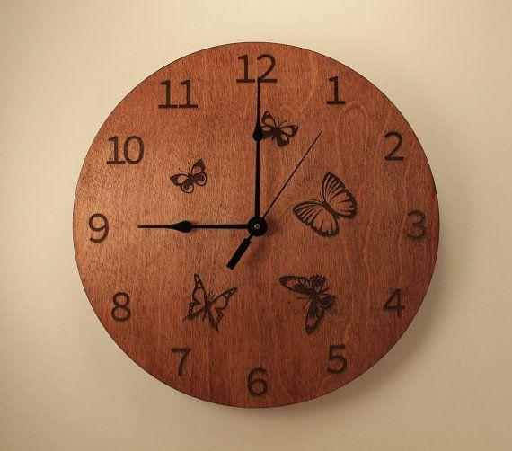 Butterfly laser cut clock Wooden wall clock by BunBunWoodworking