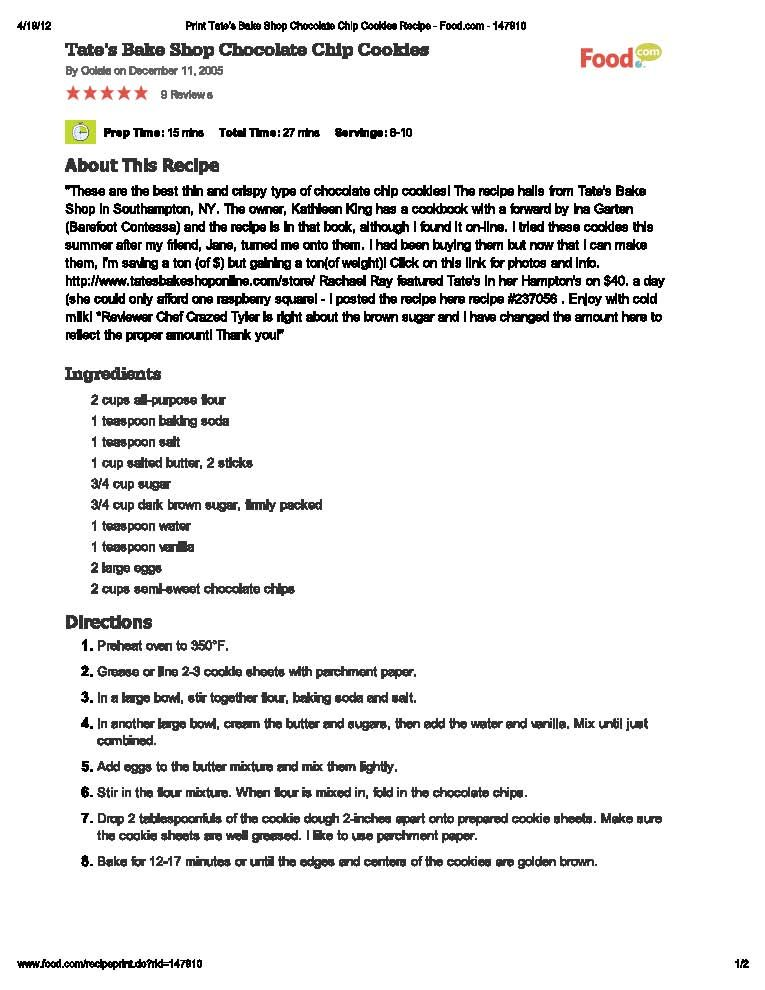 Tateu0027s Bake Shop Chocolate Chip Cookies Recipes Pinterest - quality inspector resume