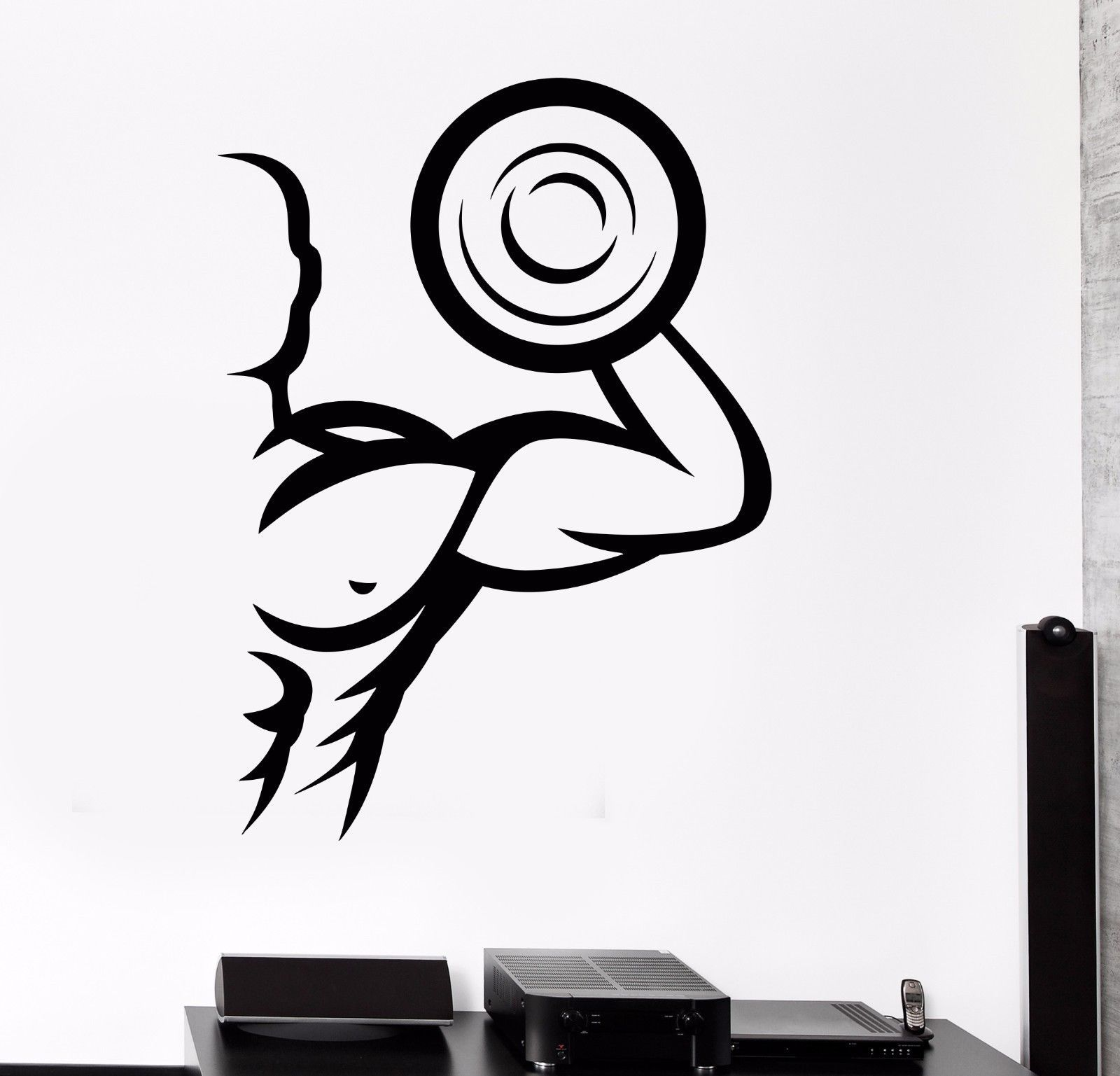 Gym Decal Wall Sticker Power Body Fit Bodybuilder Fitness Training Silhouette
