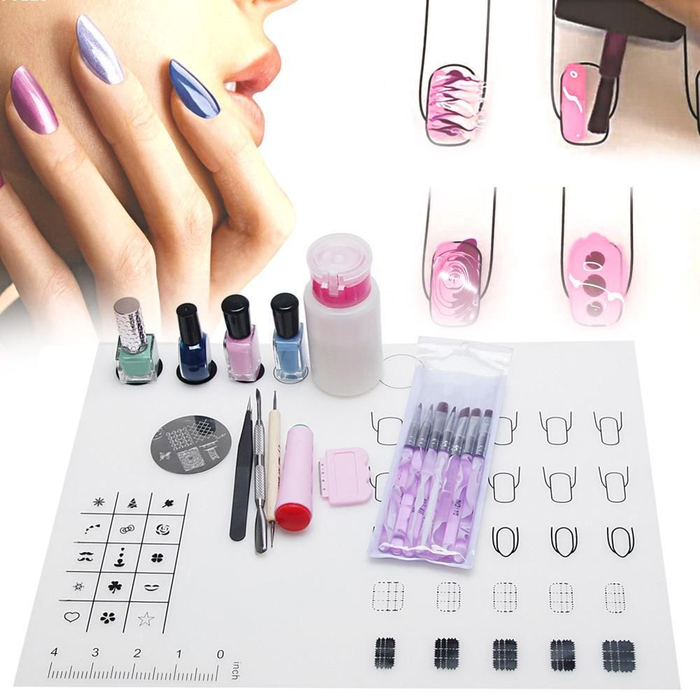 Magic Silicone Nail Art Template Mat For Stamping Decals Nail