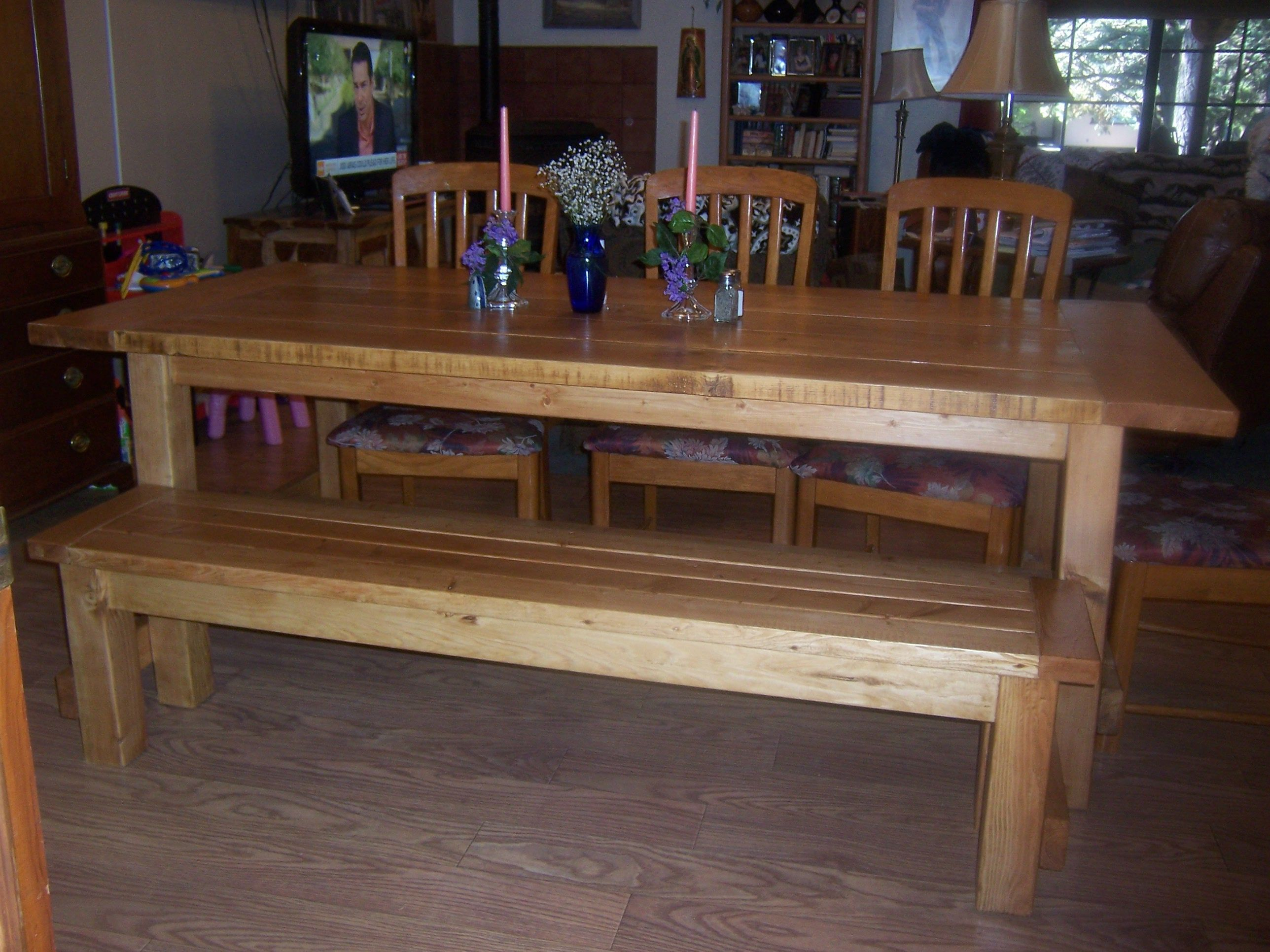 Attractive Farmhouse Table And Benches   Farmhouse Table U0026 Bench   Do It Yourself Home  Projects From
