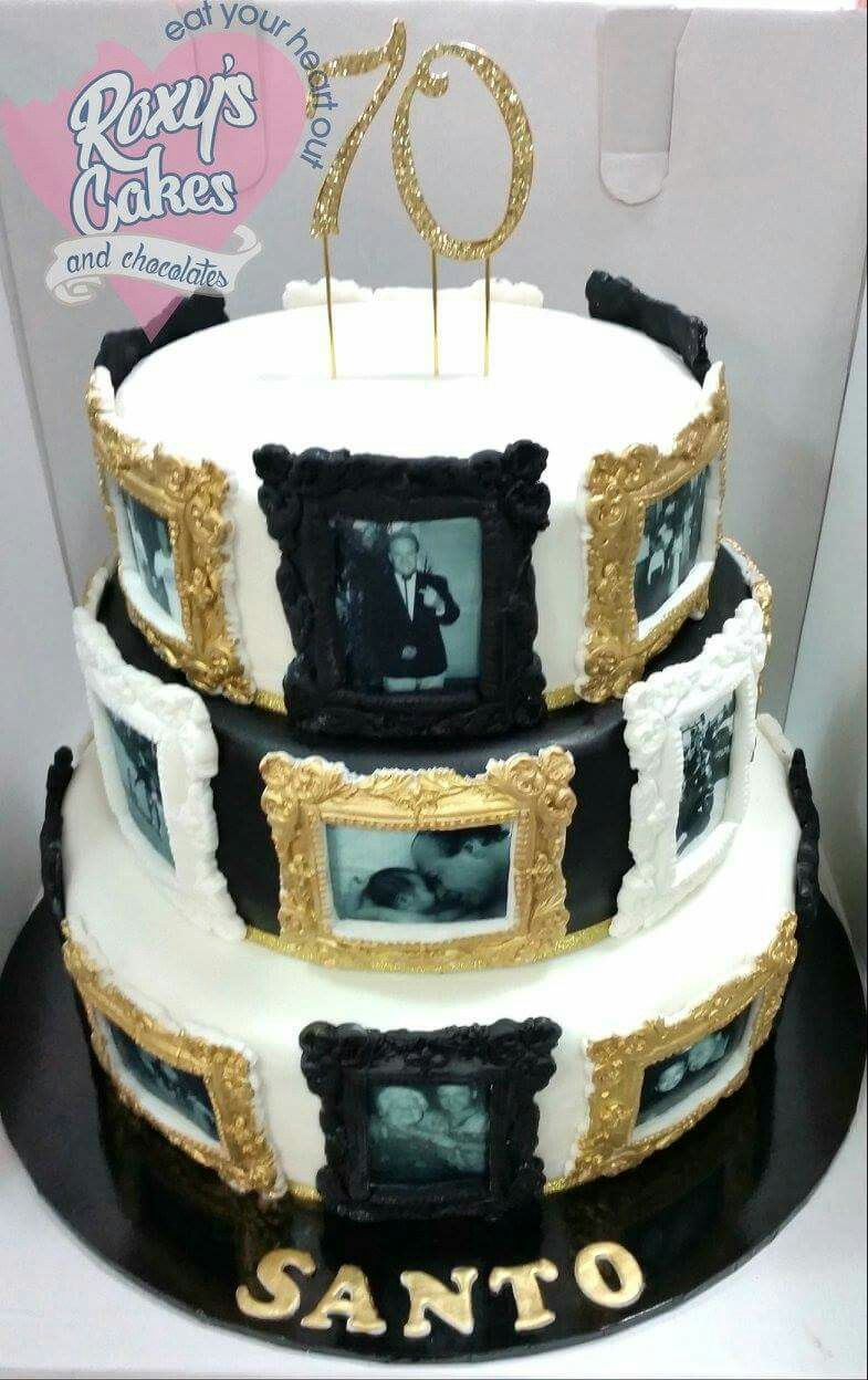 70th Birthday Cake Black White Gold Photo Frames Edible