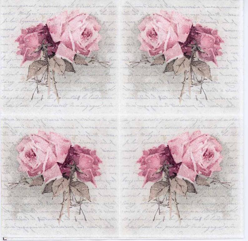 Papel Servilletas Decoupage X 2 Rosas Rosa 25cm