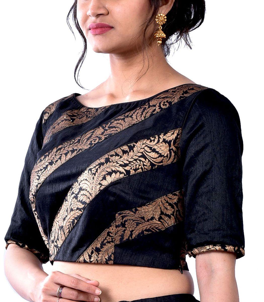 f4fec6cf2309bc Black Raw Silk with Black Khimkhab Designer Blouse - BL5038