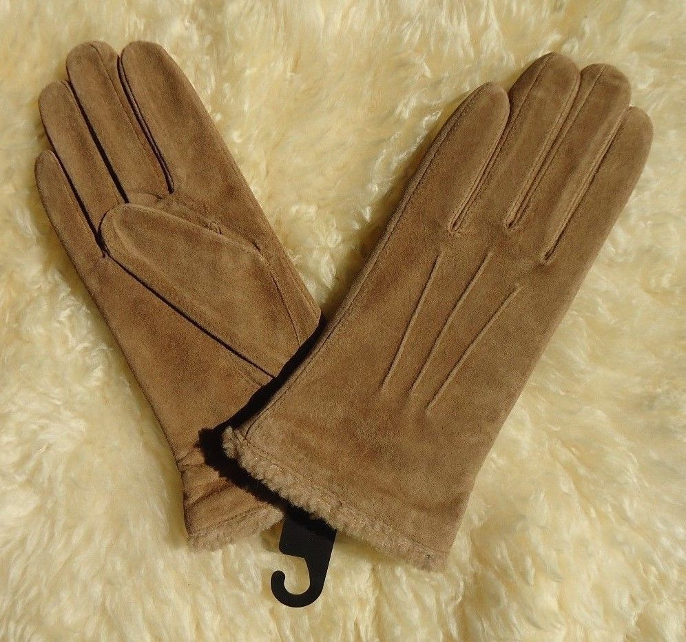 Ladies Womens Faux Suede Soft Warm Cosy Winter Gloves Cosy Liner /& Faux Fur Cuff