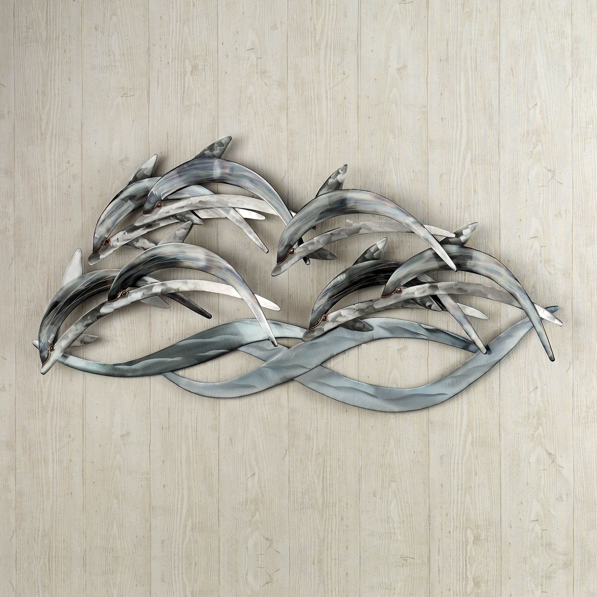 339 wave dancers dolphin stainless steel wall sculpture