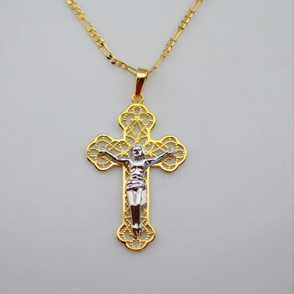 Jesus cross charms pendant necklacesyellow gold and white gold24k jesus cross charms pendant necklacesyellow gold and white gold24k gold plated religious aloadofball Images