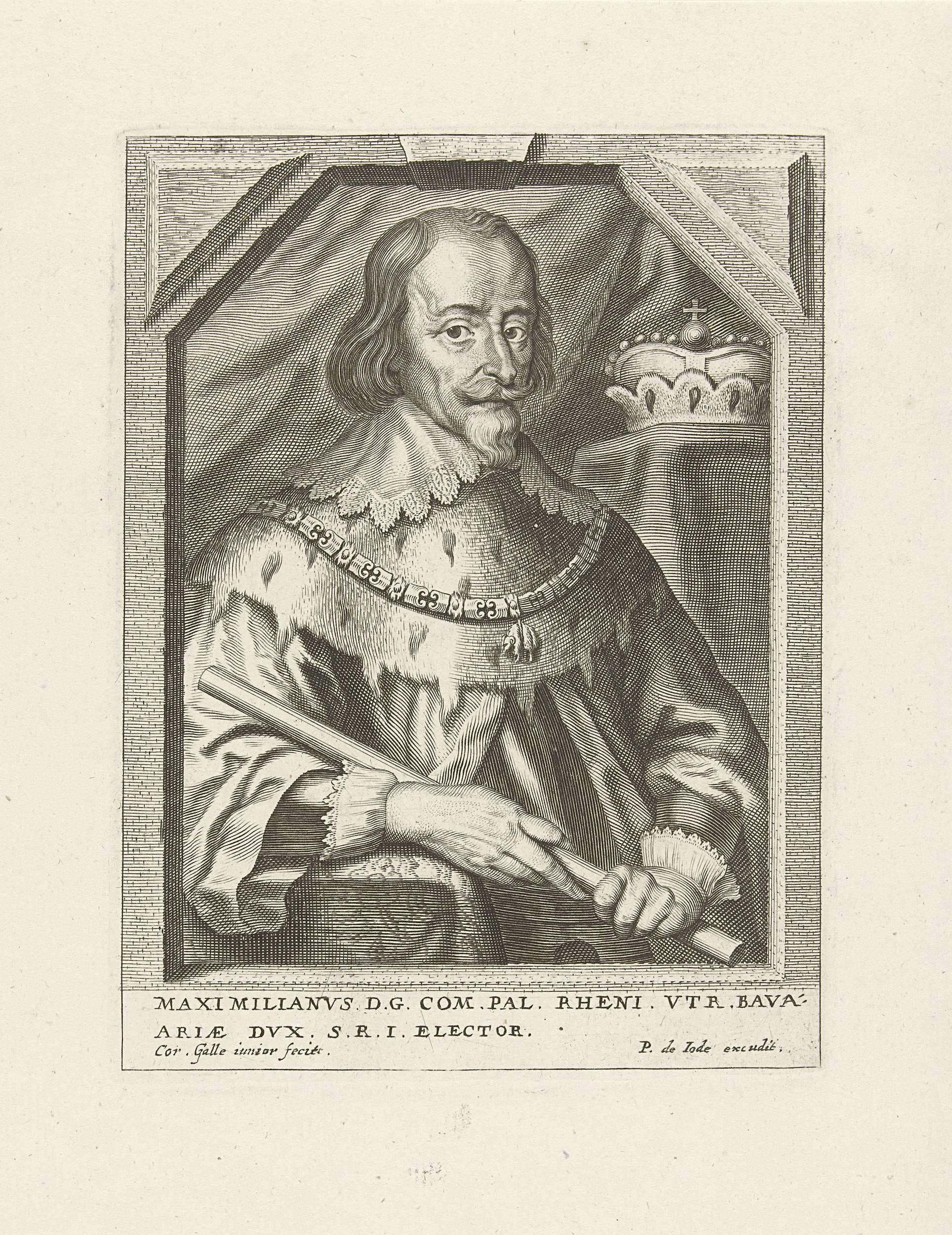 Cornelis Galle (II) | Portret van Maximilaan I van Beieren, Cornelis Galle (II), Pieter de Jode, c. 1638 - c. 1650 | Portret van Maximilaan van Beyeren met ketting van het gulden vlies en commandostaf. Op de achtergrond zijn kroon.