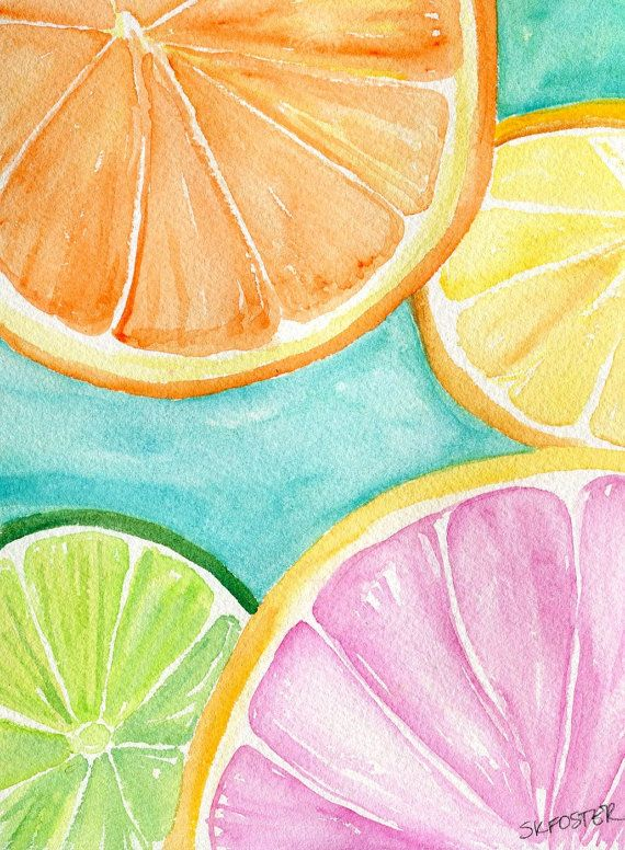 Photo of Original Citrus Watercolor Painting Cantaloupe, Grapefruit, Lemon, Orange, Limes, Grapes, Pineapple, Tropical Fruit  8 x 10 kitchen art