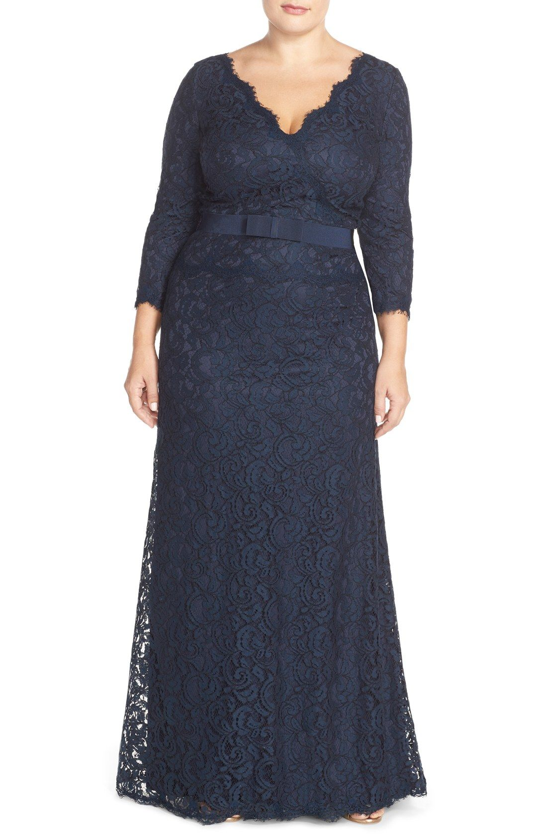 Tadashi Shoji V-Neck Lace Gown (Plus Size) | Nordstrom | Vestidos de ...