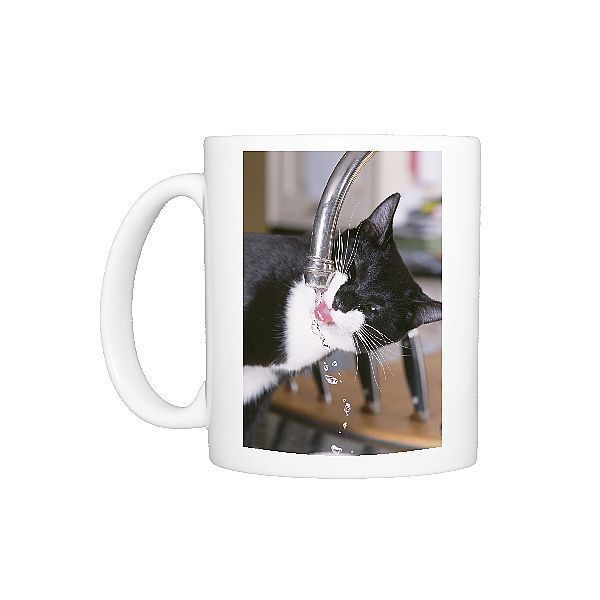 Photo Mug-Black and White CAT - Drinking from tap-11oz White ceramic mug made in the USA  Photo Mug-Black and White CAT – Drinking from tap-11oz White ceramic mug made in the USA  #Cat #Ceramic #Drinking #mug #MugBlack #photo #tap11oz #USA #White