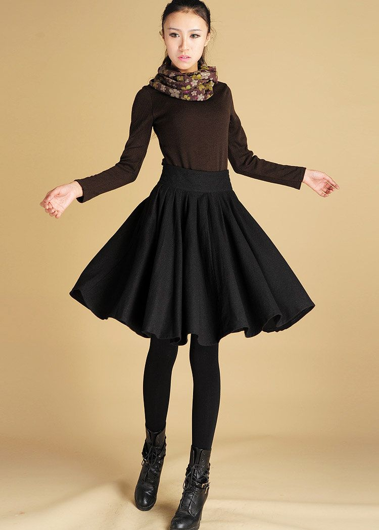 701abab77 Black wool skirt pleated knee length skirt (442). $49.99, via Etsy. This  would be a good one to sew a bit longer