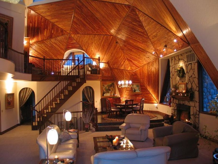 Interior of geodesic dome house in Big