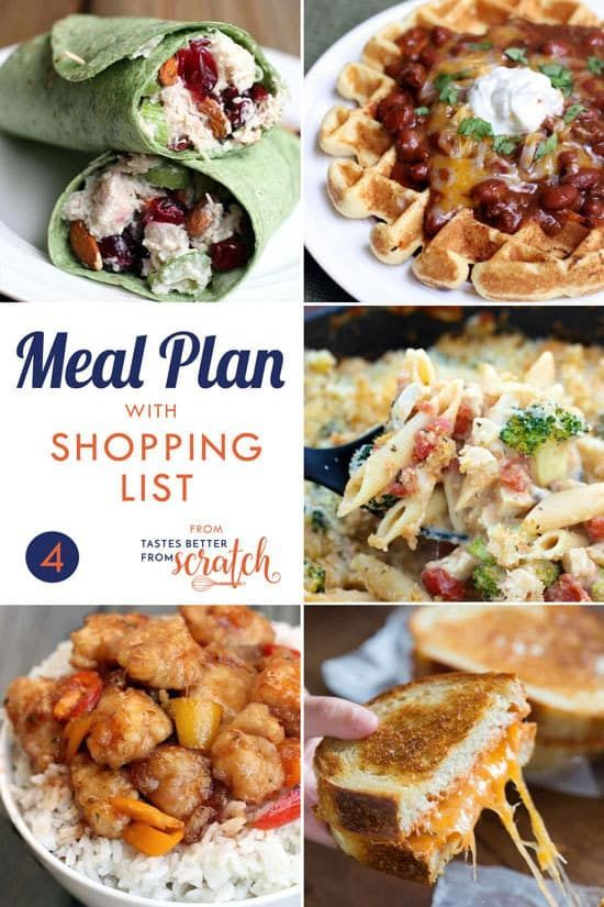 Weekly Meal Plan (4) is part of Vegetarian weekly meal plan, Meal plan grocery list, Week meal plan, Healthy weekly meal plan, Cheap meal plans, Free weekly meal plan - Using weekly meal plans is a great way to save money and cook healthier, and my free meal plans all include a grocery shopping list!