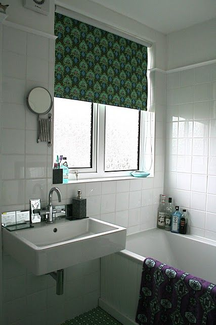 a nosew fabric window shade lazy cozy amazing use of pattern and color in a neutral bathroom