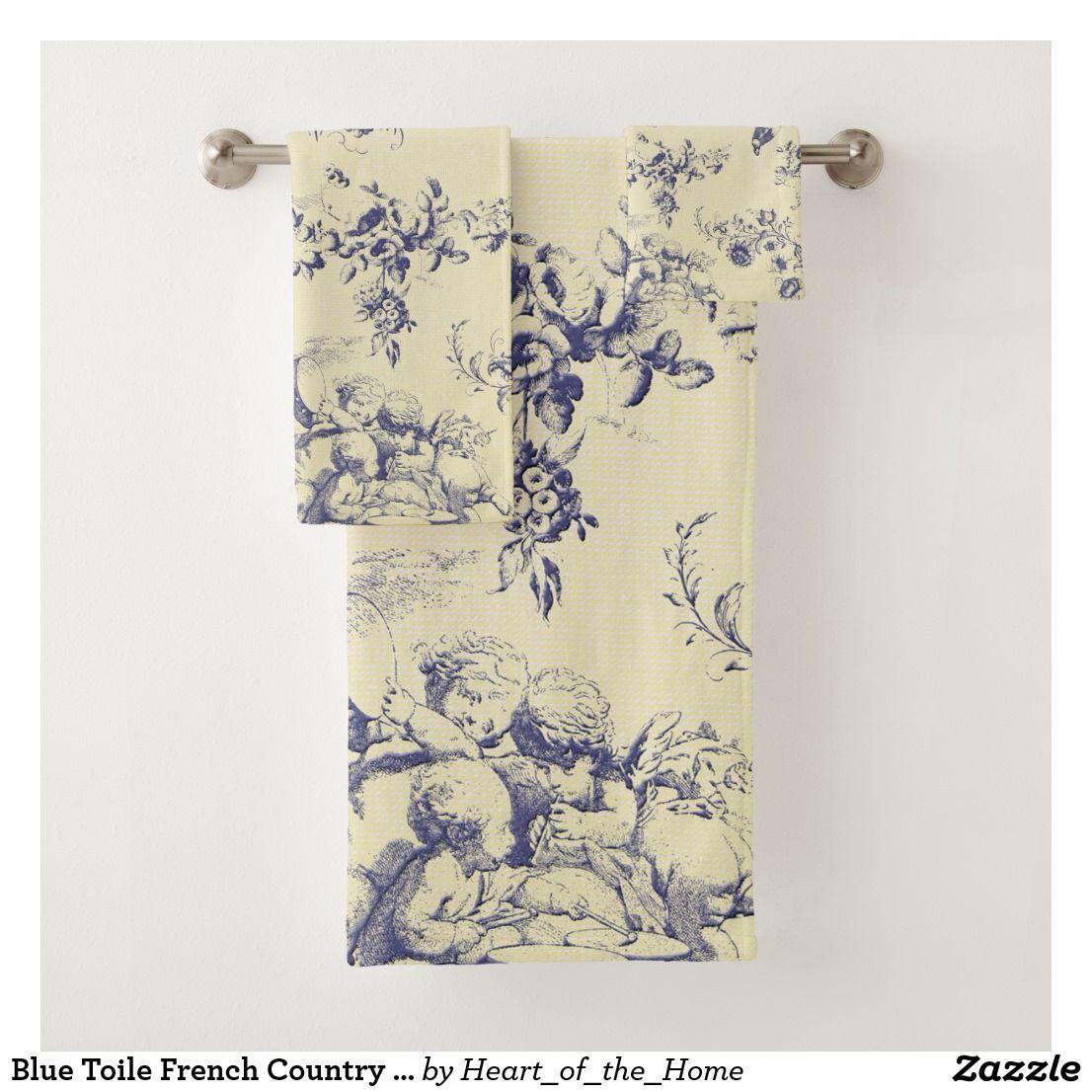 Blue Toile French Country Cherub Pattern Bath Towel Set Zazzle Com Patterned Bath Towels Blue Toile French Country Bathroom