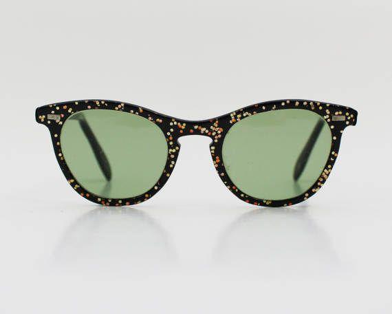 06c49d27278 60s Confetti Glitter Sunglasses - Vintage 1960s Mod Black Women s ...