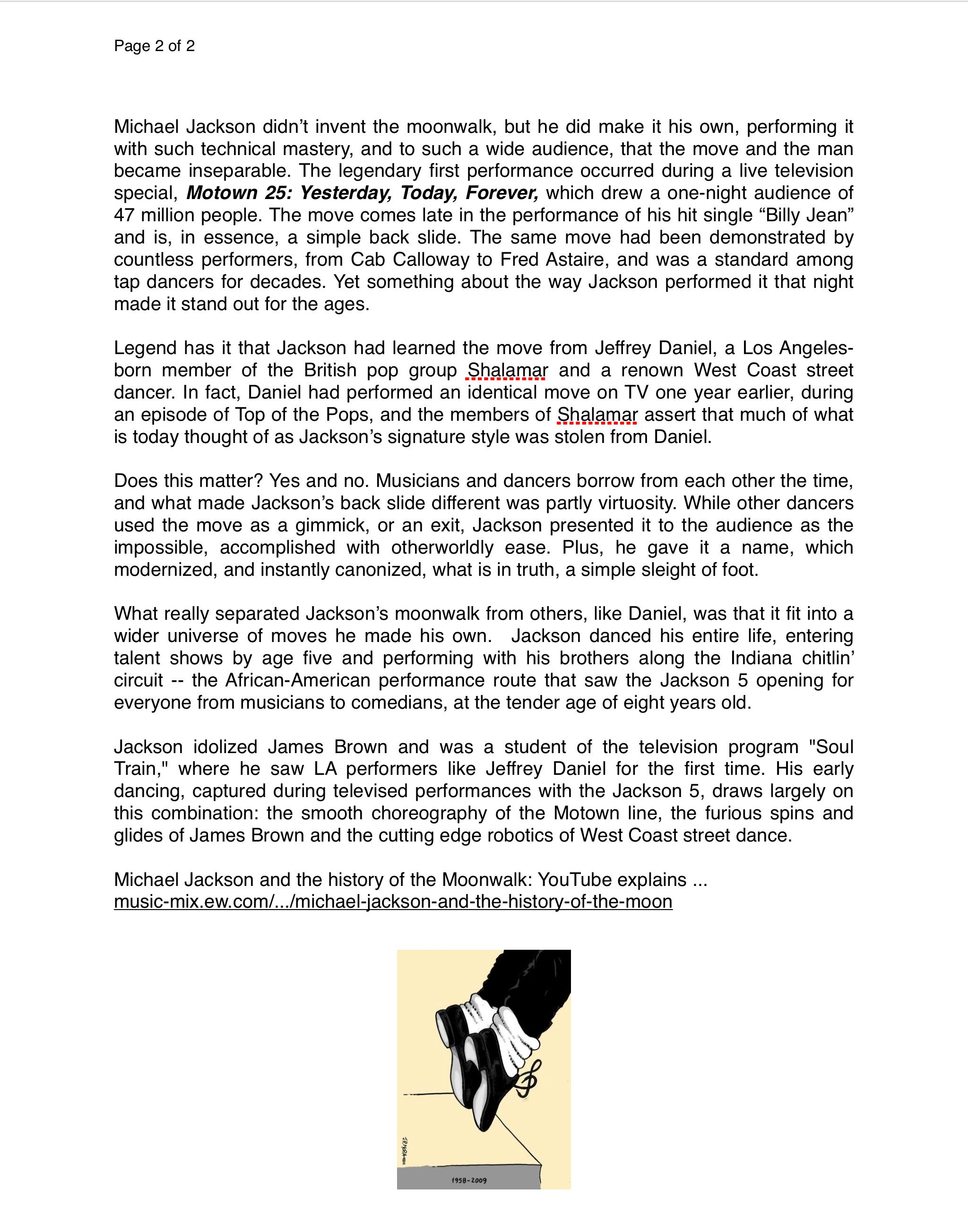 Page 2 The Moonwalk A History Of Michael Jackson S