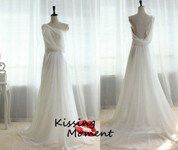 2015 Spring Beach Greek Goddess Wedding Dress Open Back: Vintage One Shoulder Backless A-line White Ivory Light