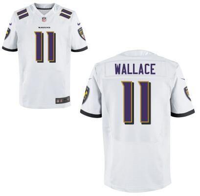 Men s Baltimore Ravens  11 Mike Wallace Elite White Road Jersey ... 0822fa205