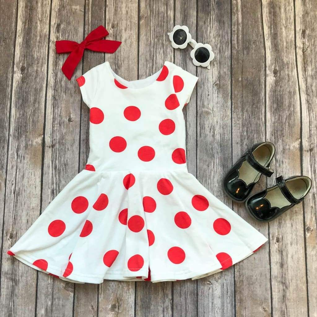 48e45da3797e These big red polka dots make a fun statement on this handmade twirl dress!  Perfect for everyday or Valentine's Day! Free shipping over $90!