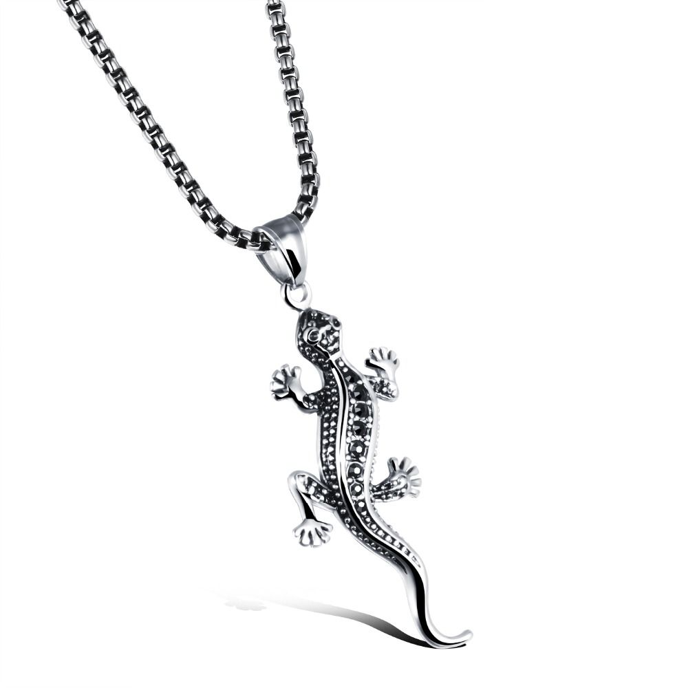 Punk stereo gecko lizard necklace men l titanium square chain