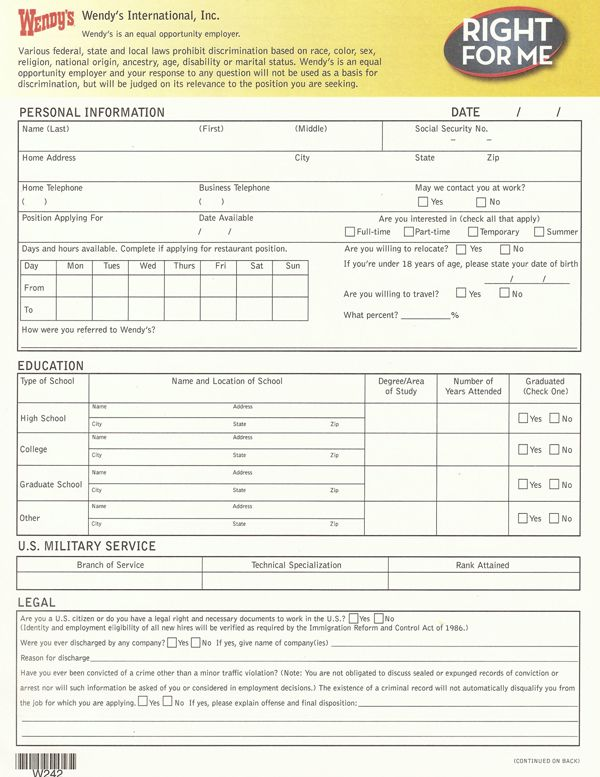 Wendys Application Form  Sample Forms  Apllication