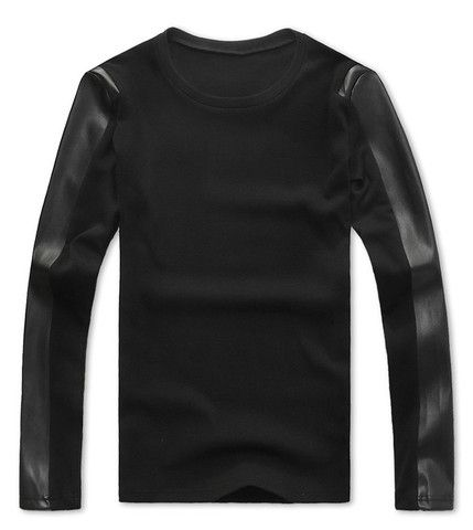 Korean Style Round Neck PU Leather Splicing Long Sleeves Black Polyester T-shirt For Men