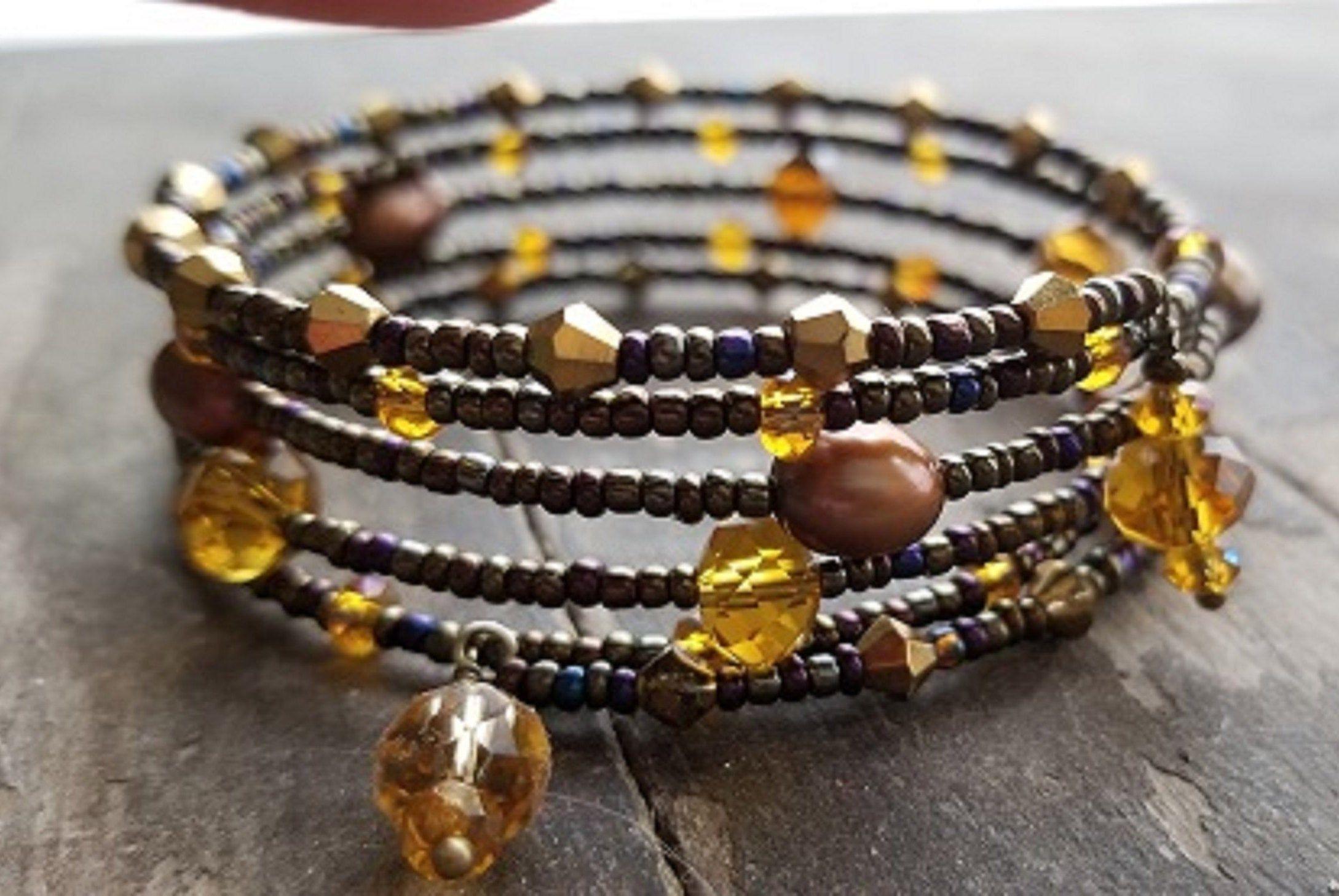 Gold Infused Quartz Miyuki Delica Bead Wrap Pendant