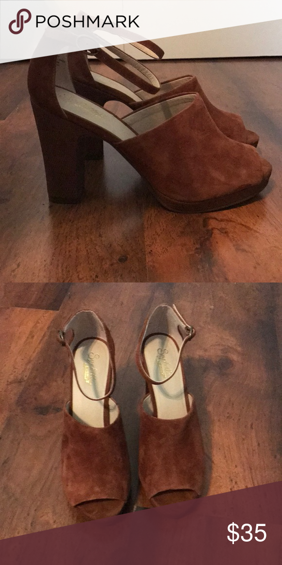 Brown Suede Platform Heels New Condition Never Worn