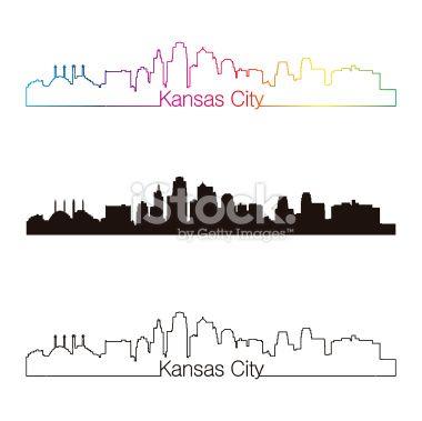 Kansas City Skyline Linear Style With Rainbow In Editable Vector File Kansas City Skyline Kansas City Skyline Tattoo