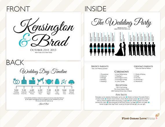 printable silhouette wedding program the kensington full sheet